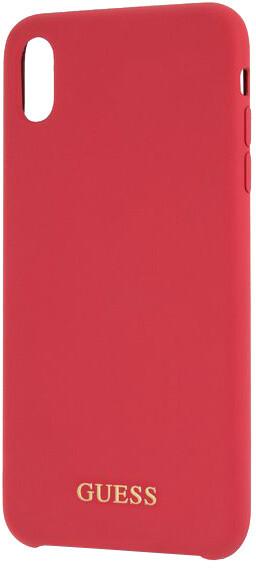 GUESS Silicone Gold Logo pouzdro pro iPhone XS Max, červená
