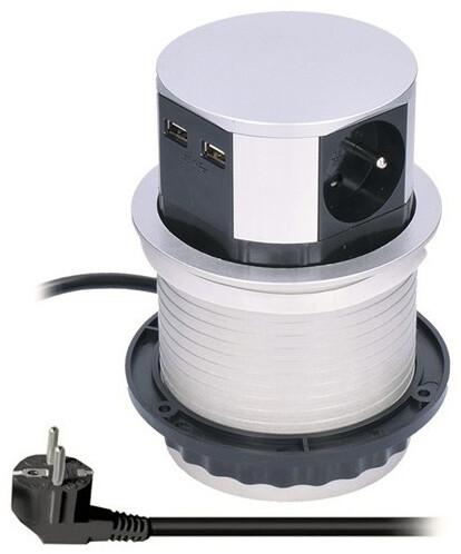 Solight výsuvný blok zásuvek, 3 zásuvky, 2x USB, prodlužovací přívod 1,5m, stříbrná