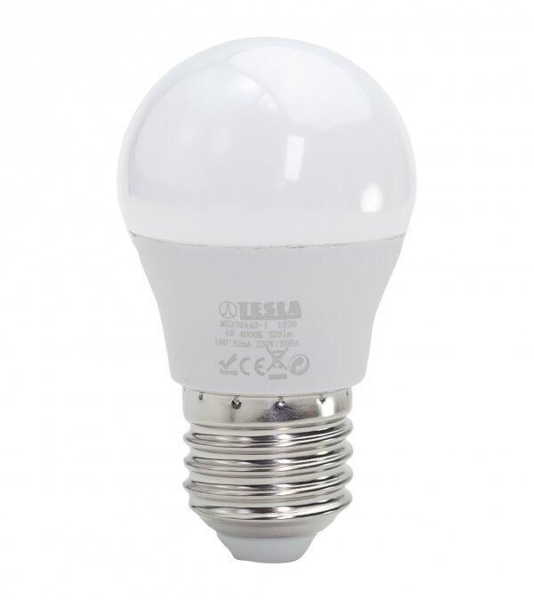 TESLA LED žárovka miniglobe BULB E27, 4W, 4000K, denní bílá