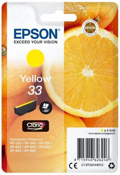 Epson C13T33444012, 33 claria yellow