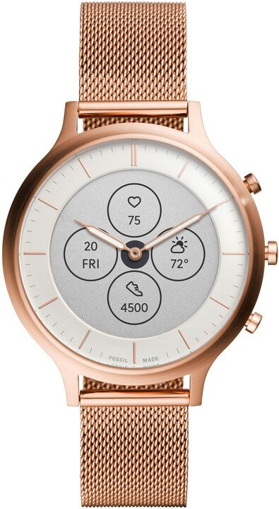 Fossil FTW7014 Hybrid Watch Charter Rose, Gold-Tone Stainless Steel Mesh
