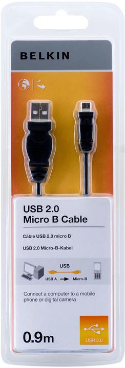 Belkin USB 2.0 kabel A-microB, standard, 0.9 m