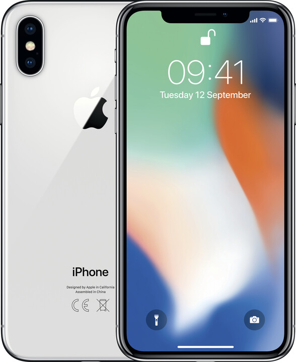 Apple iPhone X, 64GB, stříbrná