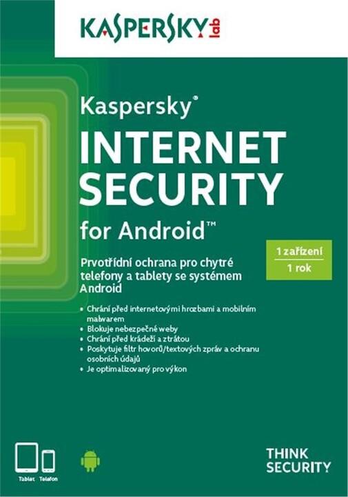 Kaspersky Internet Security pro Android CZ, 1 mobil/tablet, 1 rok, nová licence, krabicová