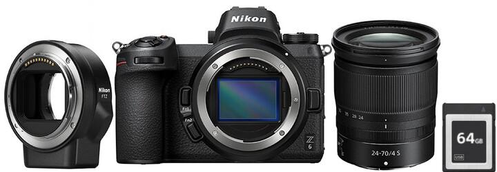 Nikon Z6 + 24-70mm + FTZ adapter + 64GB XQD karta