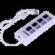 Crono USB HUB 4 porty, USB 2.0, vypínače, LED světlo, bílá