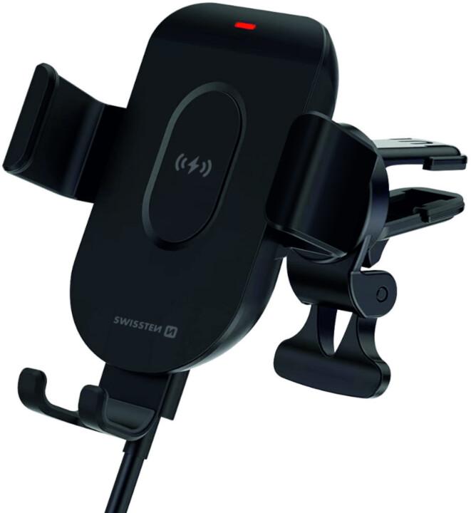 SWISSTEN držák Gravity do ventilace s bezdrátovým nabíjením, S.Grip, 15W, černá