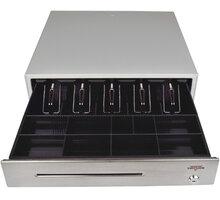 Virtuos pokladní zásuvka C430C, s kabelem, kovové držáky, nerez panel, 9-24V, béžová - EKA0053