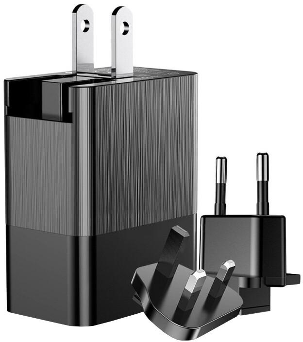 Baseus Duke univerzální cestovní síťový adaptér (EU + UK + US) 3x USB, černá