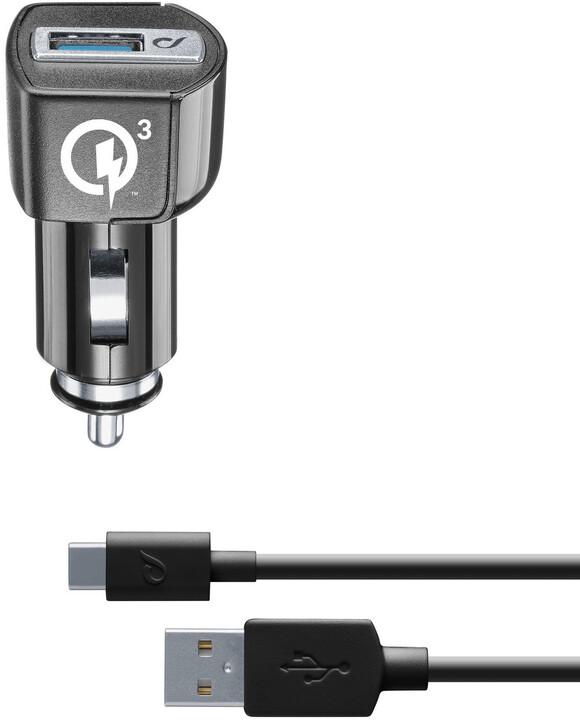 CellularLine nabíjecí set USB autonabíječky a USB-C kabelu Qualcomm® Quick Charge™ 3.0, 18W, černá