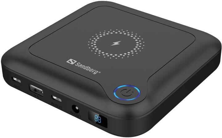 Sandberg powerbanka All-in1, 24000mAh, bezdrátové nabíjení, PD, černá
