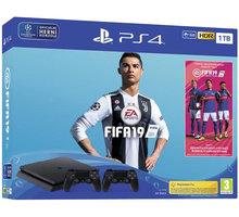 PlayStation 4 Slim, 1TB, černá + FIFA 19 + DualShock 4 v2, černý