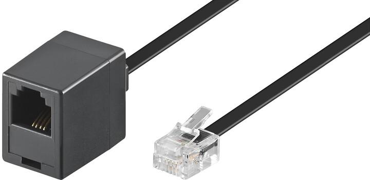 PremiumCord kabel prodlužovací telefonní rovný 6P4C plug - 6P4C jack 6m, černá