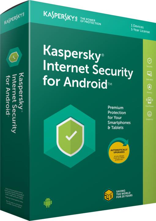 Kaspersky Internet Security Android 2018 CZ pro 1 zařízení na 12 měsíců, obnovení licence
