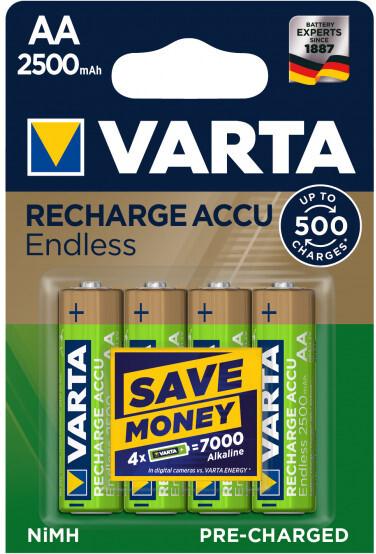VARTA nabíjecí baterie AA 2500 mAh, 500 cyklů, 4ks