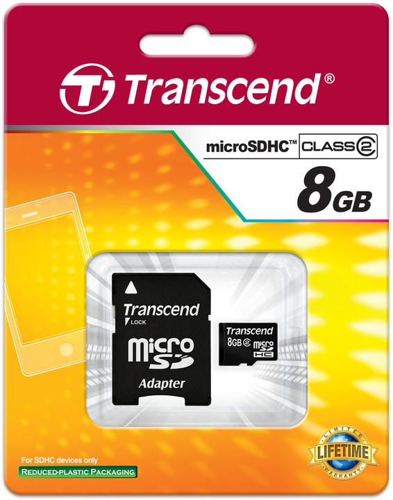 Transcend Micro SDHC 8GB Class 4 + adaptér