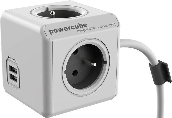 PowerCube EXTENDED USB prodlužovací přívod 1,5m - 4 zásuvka, šedá