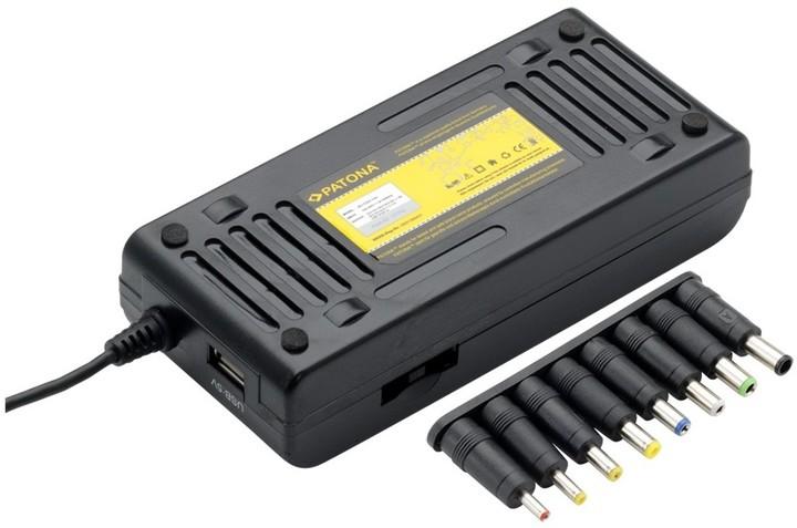 Patona napájecí adaptér 100W na 240V/ 12V-24V/ USB/ 9 konektorů/ do sítě i auta