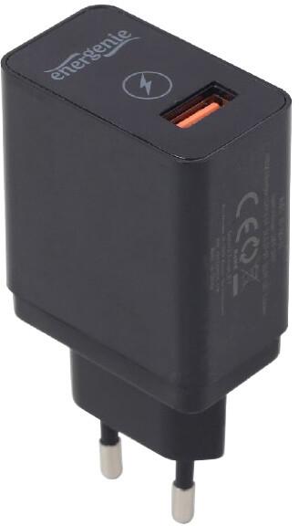 Gembird nabíječka, 1x USB, QC 3.0, černá