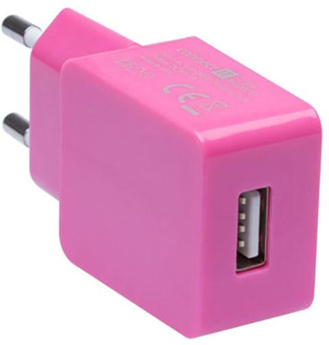 CONNECT IT nabíjecí adaptér 1xUSB port 1 A, růžová