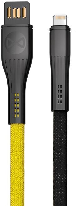 Forever CORE datový kabel Lightning, 3A, 1m, plochý textilní, žlutá/černá