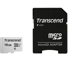 Transcend Micro SDHC 300S 16GB 95MB/s UHS-I U1 + SD adaptér - TS16GUSD300S-A