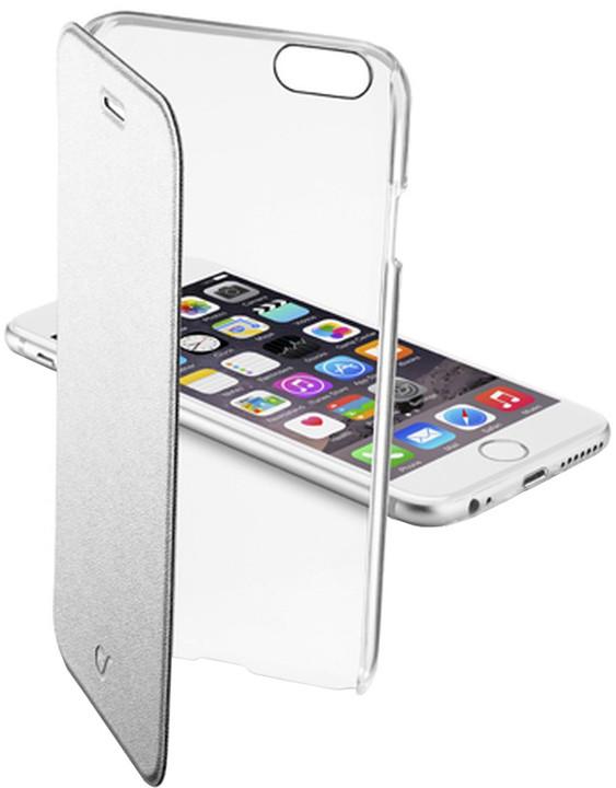 CellularLine průhledné pouzdro Clear Book pro Apple iPhone 6, stříbrná