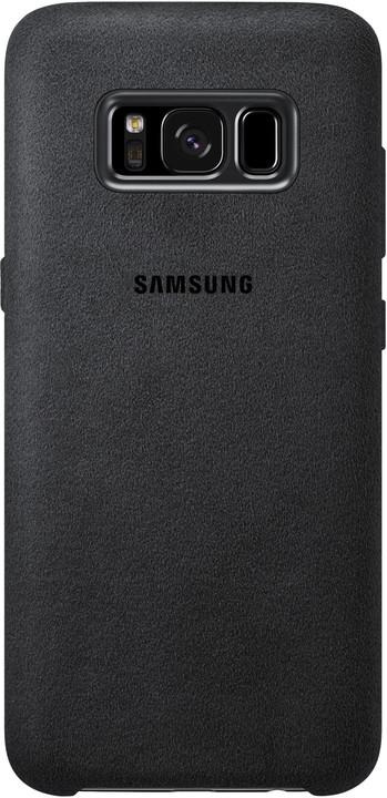 Samsung S8+, zadní kryt - kůže Alcantara, stříbrno/šedá