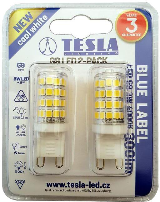 TESLA LED žárovka, G9, 3W, 4000K, denní bílá, 2ks v balení