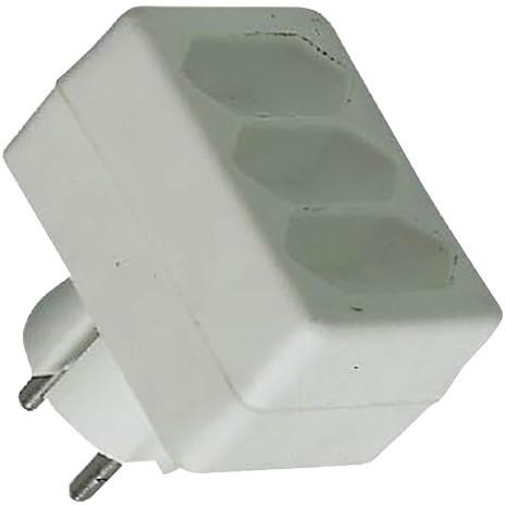 PremiumCord roztrojka 230V bílá 3x2,5A