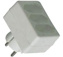 PremiumCord roztrojka 230V bílá 3x2,5A - ppr03