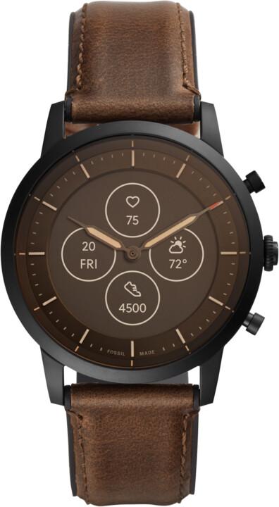 Fossil FTW7008 Hybrid Watch, M Dark Brown Leather