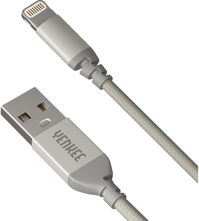 YENKEE YCU 612 USB / lightning 2m, stříbrný