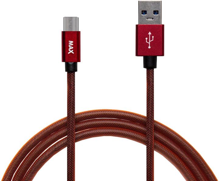 MAX MUCM1R kabel micro USB opletený, 1m, červená