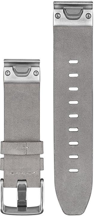 Garmin náhradní řemínek pro Fenix 5S QuickFit™ 20, kožený šedý