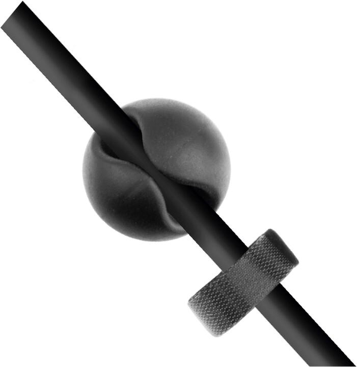 FIXED sada kabelových organizerů Stickies, 6 ks, velikost M, černá