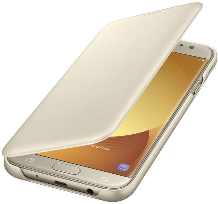 Samsung Galaxy J7 Flipové pouzdro, Wallet Cover, zlaté