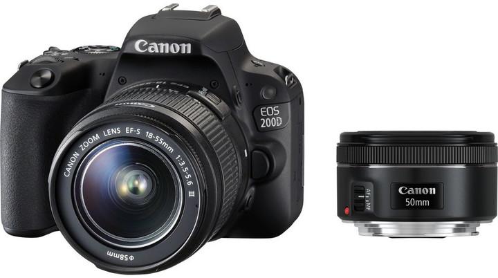 Canon EOS 200D + 18-55mm IS STM + 50mm 1.8 STM, černá