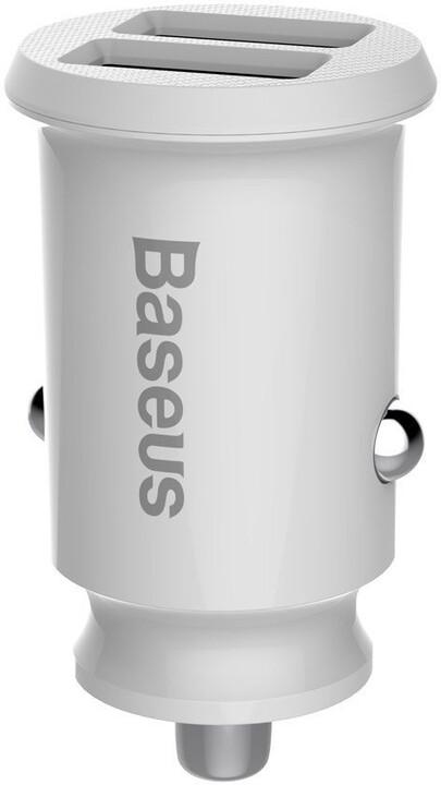 Baseus autonabíječka Grain (Dual USB 5V 3.1A), bílá