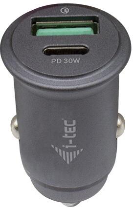 i-tec autonabíječka, 1xUSB, 1x USB-C, QC 3.0, PD, 30W, šedá