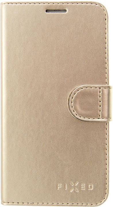 FIXED FIT Pouzdro typu kniha Shine pro Apple iPhone 5/5S/SE, zlatá
