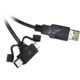 PremiumCord USB, A-B micro USB+mini B USB 5pin, 1,8m