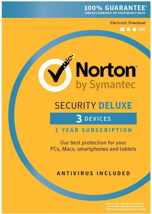 Symantec Norton Security Deluxe 3.0 CZ, 1 uživatel, 3 zařízení, 1 rok