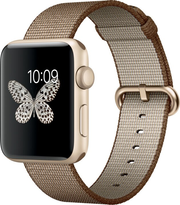 Apple Watch 2 42mm Gold Aluminium Case with Toasted Coffee/Caramel Woven Nylon Band