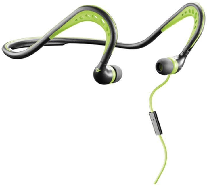 CellularLine Scorpion sportovní ergonomická sluchátka, černo-zelená
