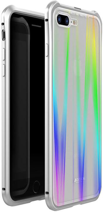Luphie Aurora Magnet Hard Case Glass pro iPhone 7/8 Plus, stříbrno/bílá