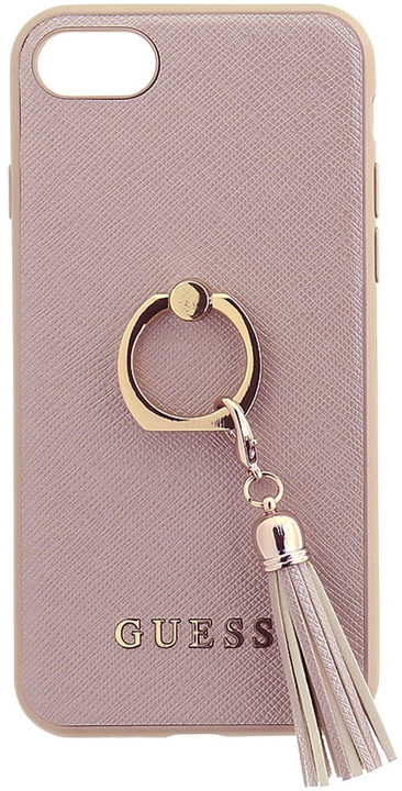 GUESS Saffiano Ring zadní kryt pro iPhone 7/8, Pink