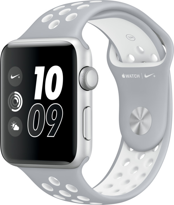 Apple Watch Nike + 42mm Silver Aluminium Case with Flat Silver/White Nike Sport Band