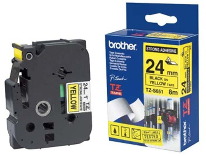 Brother TZE-S651, žlutá/černá, 24mm