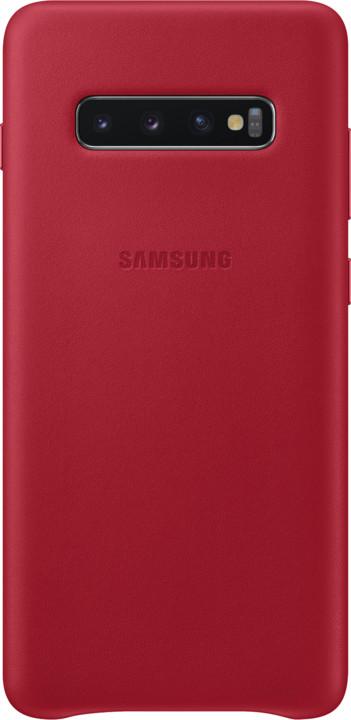 Samsung kožený zadní kryt pro Samsung G975 Galaxy S10+, červená